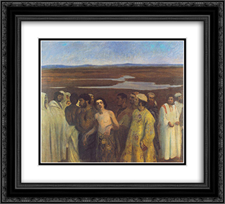 Joseph Sold into Slavery by His Brothers 22x20 Black or Gold Ornate Framed and Double Matted Art Print by Karoly Ferenczy