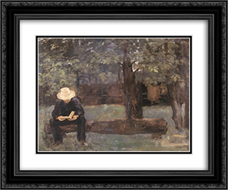 Man Sitting on a Log 24x20 Black or Gold Ornate Framed and Double Matted Art Print by Karoly Ferenczy