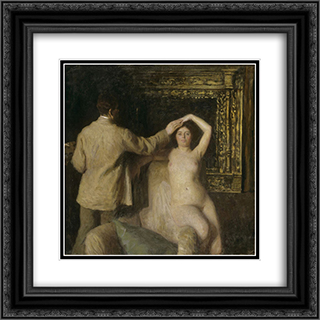 Painter and Model 20x20 Black or Gold Ornate Framed and Double Matted Art Print by Karoly Ferenczy