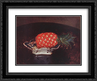 Pineapple 24x20 Black or Gold Ornate Framed and Double Matted Art Print by Karoly Ferenczy