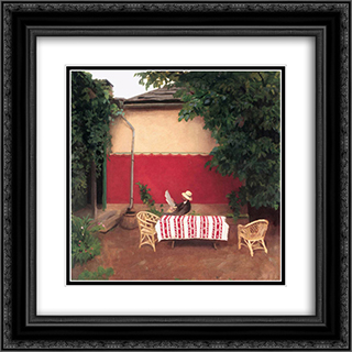 Red Wall 20x20 Black or Gold Ornate Framed and Double Matted Art Print by Karoly Ferenczy