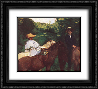 Riding Children 22x20 Black or Gold Ornate Framed and Double Matted Art Print by Karoly Ferenczy