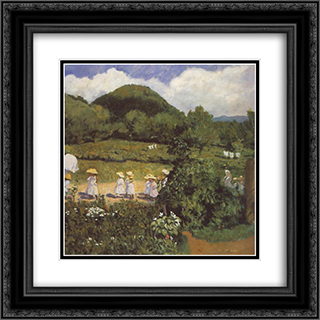 Summertime (Picnic in May) 20x20 Black or Gold Ornate Framed and Double Matted Art Print by Karoly Ferenczy