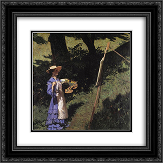 The Woman Painter 20x20 Black or Gold Ornate Framed and Double Matted Art Print by Karoly Ferenczy