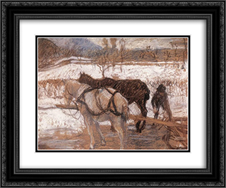 Winter 24x20 Black or Gold Ornate Framed and Double Matted Art Print by Karoly Ferenczy