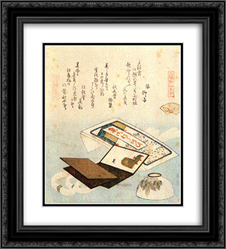 A bowl of lip rouge 20x22 Black or Gold Ornate Framed and Double Matted Art Print by Katsushika Hokusai