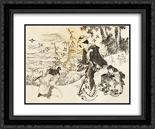 A bride is on her way with her maid 24x20 Black or Gold Ornate Framed and Double Matted Art Print by Katsushika Hokusai