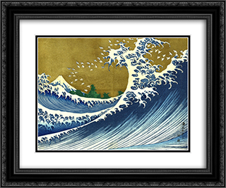 A colored version of the Big wave 24x20 Black or Gold Ornate Framed and Double Matted Art Print by Katsushika Hokusai