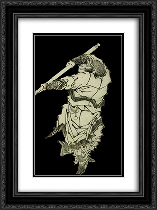 A depiction of Sun Wukong wielding his staff 18x24 Black or Gold Ornate Framed and Double Matted Art Print by Katsushika Hokusai