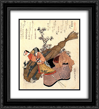 A hand puppet 20x22 Black or Gold Ornate Framed and Double Matted Art Print by Katsushika Hokusai