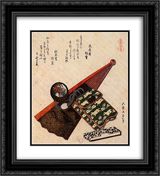 A leather Pouch with kagami 20x22 Black or Gold Ornate Framed and Double Matted Art Print by Katsushika Hokusai