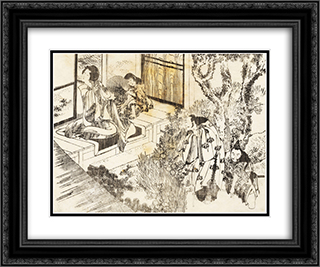 A man is watching a beautiful woman 24x20 Black or Gold Ornate Framed and Double Matted Art Print by Katsushika Hokusai