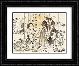 A mean man will kill a woman with his sword 24x20 Black or Gold Ornate Framed and Double Matted Art Print by Katsushika Hokusai