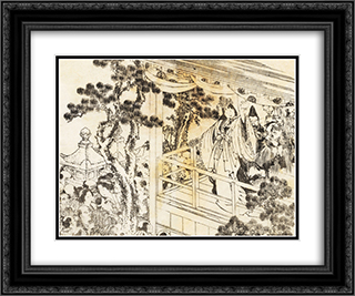 A scene of a shinto shrine dance, kagura 24x20 Black or Gold Ornate Framed and Double Matted Art Print by Katsushika Hokusai