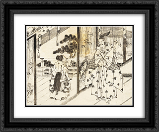 A well educated boy pays respect to an older man 24x20 Black or Gold Ornate Framed and Double Matted Art Print by Katsushika Hokusai