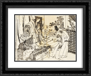 A woman in shinto shrine has a stick with a lot of paper leaves 24x20 Black or Gold Ornate Framed and Double Matted Art Print by Katsushika Hokusai
