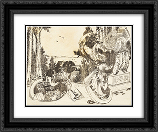 An older woman hits another woman with her shoe 24x20 Black or Gold Ornate Framed and Double Matted Art Print by Katsushika Hokusai