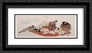 Announcement of a Farewell Performance of Bando Mitsugoro 24x14 Black or Gold Ornate Framed and Double Matted Art Print by Katsushika Hokusai