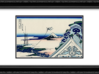 Asakusa Honganji temple in th Eastern capital 24x18 Black or Gold Ornate Framed and Double Matted Art Print by Katsushika Hokusai