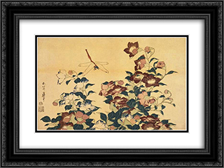 Bluebells and Dragonflies 24x18 Black or Gold Ornate Framed and Double Matted Art Print by Katsushika Hokusai