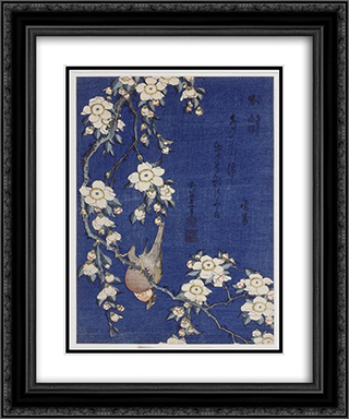 Bullfinch and weeping cherry blossoms 20x24 Black or Gold Ornate Framed and Double Matted Art Print by Katsushika Hokusai