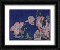 Canary and Peony 24x20 Black or Gold Ornate Framed and Double Matted Art Print by Katsushika Hokusai