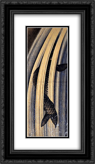 Carp leaping up a cascade 14x24 Black or Gold Ornate Framed and Double Matted Art Print by Katsushika Hokusai