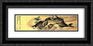 Carps 24x12 Black or Gold Ornate Framed and Double Matted Art Print by Katsushika Hokusai