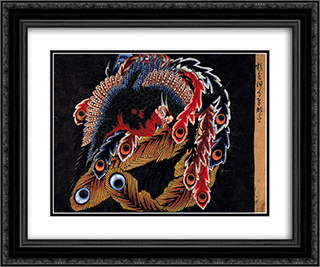 Ceiling of Ganshoin temple at Obuse 24x20 Black or Gold Ornate Framed and Double Matted Art Print by Katsushika Hokusai