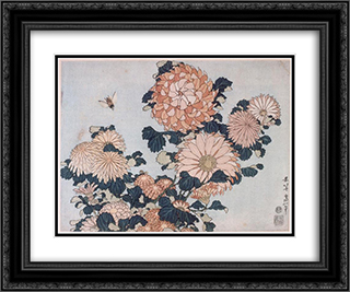 Chrysanthemums and Horsefly 24x20 Black or Gold Ornate Framed and Double Matted Art Print by Katsushika Hokusai
