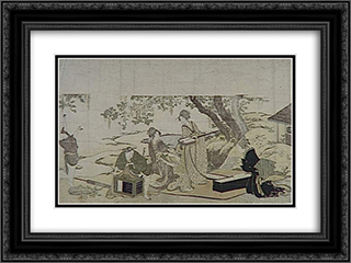 Concert under the Wisteria 24x18 Black or Gold Ornate Framed and Double Matted Art Print by Katsushika Hokusai