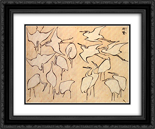 Cranes from Quick Lessons in Simplified Drawing 24x20 Black or Gold Ornate Framed and Double Matted Art Print by Katsushika Hokusai