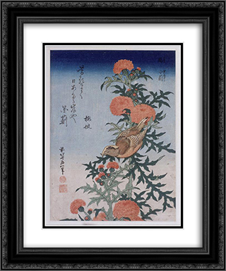 Crossbill and Thistle 20x24 Black or Gold Ornate Framed and Double Matted Art Print by Katsushika Hokusai