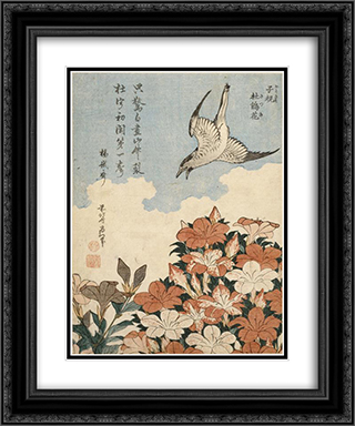 Cuckoo and Azaleas 20x24 Black or Gold Ornate Framed and Double Matted Art Print by Katsushika Hokusai