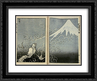 Dragon ascending Mount Fuji 24x20 Black or Gold Ornate Framed and Double Matted Art Print by Katsushika Hokusai