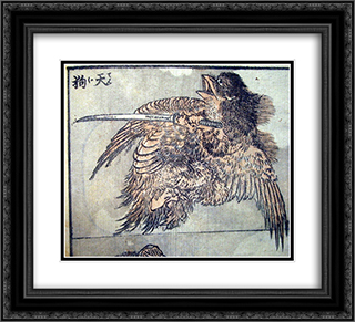 Drawing of a tengu 22x20 Black or Gold Ornate Framed and Double Matted Art Print by Katsushika Hokusai