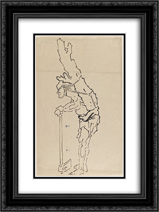 Drawing of Man Resting on Axe and Carrying Part of Tree Trunk on His Back 18x24 Black or Gold Ornate Framed and Double Matted Art Print by Katsushika Hokusai