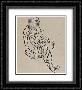 Drawing of Man Seated with Left Leg Resting over Right Knee 20x22 Black or Gold Ornate Framed and Double Matted Art Print by Katsushika Hokusai