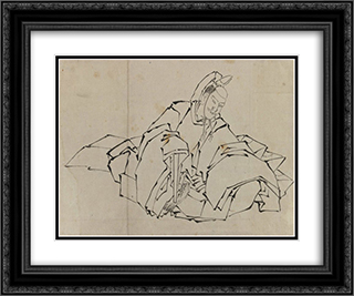 Drawing of Seated Nobleman in Full Costume 24x20 Black or Gold Ornate Framed and Double Matted Art Print by Katsushika Hokusai