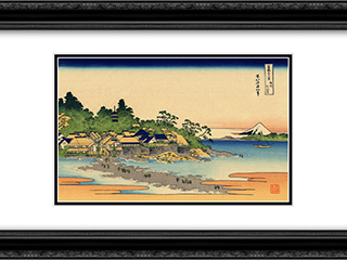 Enoshima in the Sagami province 24x18 Black or Gold Ornate Framed and Double Matted Art Print by Katsushika Hokusai