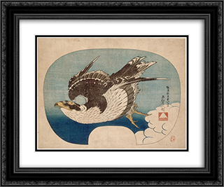 Falcon in flight 24x20 Black or Gold Ornate Framed and Double Matted Art Print by Katsushika Hokusai