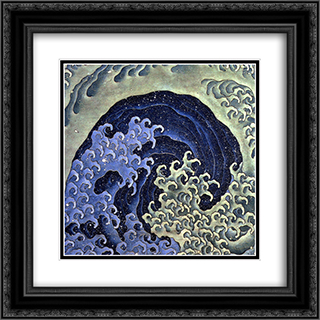 Femenine wave 20x20 Black or Gold Ornate Framed and Double Matted Art Print by Katsushika Hokusai