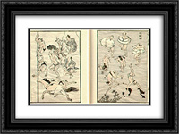 Images of Bathers (Bathing People) 24x18 Black or Gold Ornate Framed and Double Matted Art Print by Katsushika Hokusai