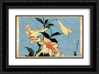 Lilly 24x18 Black or Gold Ornate Framed and Double Matted Art Print by Katsushika Hokusai