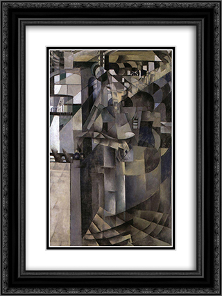 Living in a big hotel 18x24 Black or Gold Ornate Framed and Double Matted Art Print by Kazimir Malevich