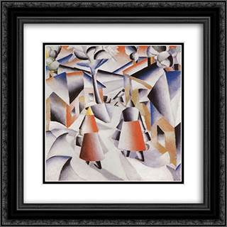 Morning in the Village after Snowstorm 20x20 Black or Gold Ornate Framed and Double Matted Art Print by Kazimir Malevich