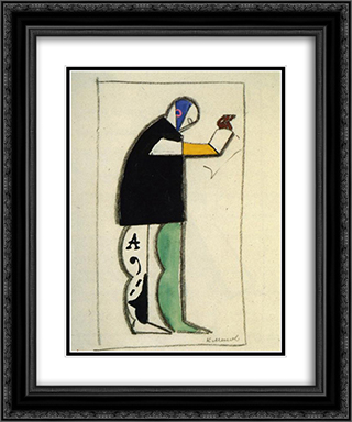 Reciter 20x24 Black or Gold Ornate Framed and Double Matted Art Print by Kazimir Malevich