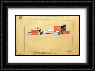 Spatial Suprematism 24x18 Black or Gold Ornate Framed and Double Matted Art Print by Kazimir Malevich
