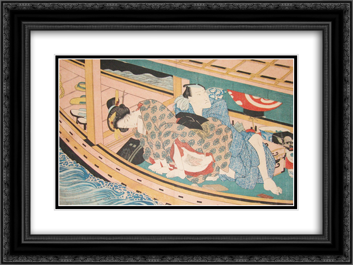 Dinner and Love on the River 24x18 Black or Gold Ornate Framed and Double Matted Art Print by Keisai Eisen