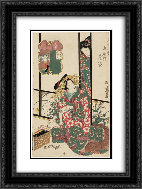 Hanamurasaki of the Tamaya, from the series Eight Views of the Pleasure Quarters (Kuruwa hakkei) 18x24 Black or Gold Ornate Framed and Double Matted Art Print by Keisai Eisen